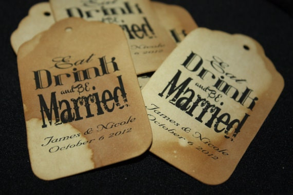 Eat Drink And Be Married Medium Personalized Wedding Favor