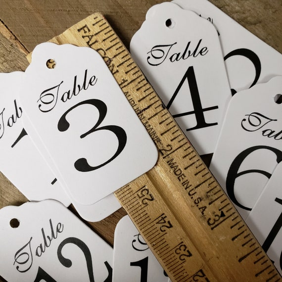 "Table Number Tags 1 1/8""x 2"" (my SMALL tag) choose your quantity, Table Number Cards, Guest Table Number"