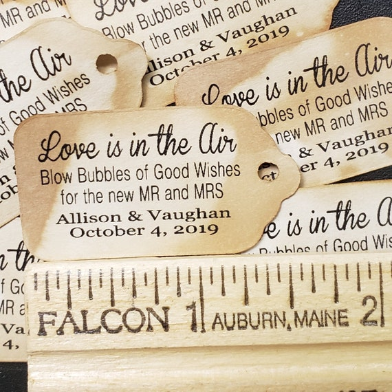 Love is in the Air Blow Bubbles of Good Wishes for the New Mr and Mrs EXTRA SMALL 7/8 x 1 5/8 Wedding Bubble Favor Tag