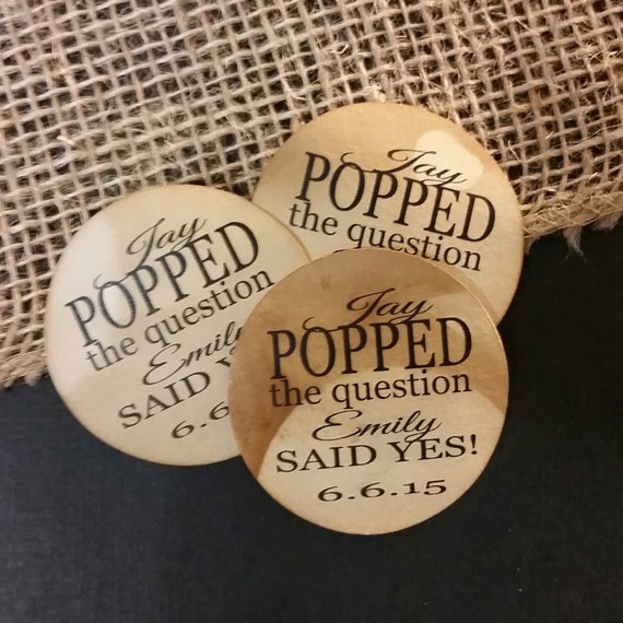 "2"" STICKER Popped The Question Personalized Wedding Engagement Shower Favor STICKER choose your amount sold in sets of 20 STICKERS"