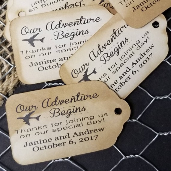 "Love is in the Air Travel Theme (my LARGE Tag) 1 3/4"" x 3 1/4"" Personalize with names or event and date souvenir favor tag"
