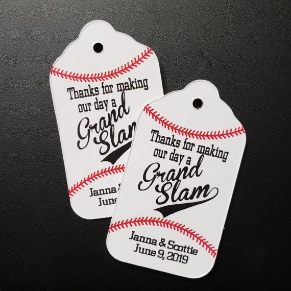 Grand Slam MEDIUM Personalized Wedding Favor Tag  choose your amount