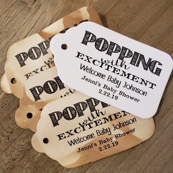 "Popping With Excitement (my LARGER LARGE tag) 2 1/8"" x 3 3/4"" Tag Personalize with baby name and names or event and date"