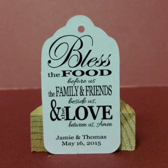 Meal Blessing MEDIUM Personalized Wedding Favor Tag  choose your amount