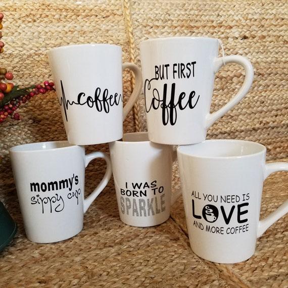 Fun Quote Coffee Tea Mugs 14oz Mug coffee mug coffee cup tea quote saying Choose your favorite I was born to sparkle all you need is love