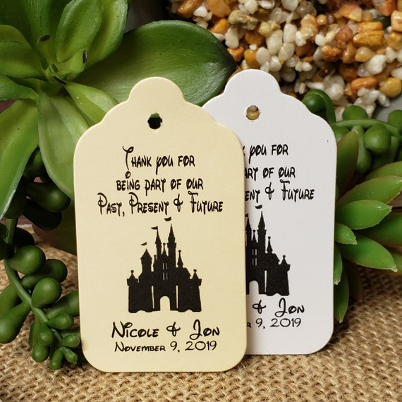 """Thank You for Being Part of our Past Present and Future (my MEDIUM tag) 1 3/8"""" x 2 1/2"""" Personalized Favor Tag fairy tale, Cinderella castle"""
