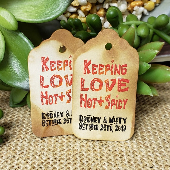 "Keeping Love Hot & Spicy (my SMALL tag) 1 1/8"" x  2"" Personalized Favor Tags Choose Your Quantity"