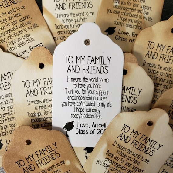 "To My Family and Friends Choose your quantity SMALL 2"" Favor Tag Graduation, favor, tag"