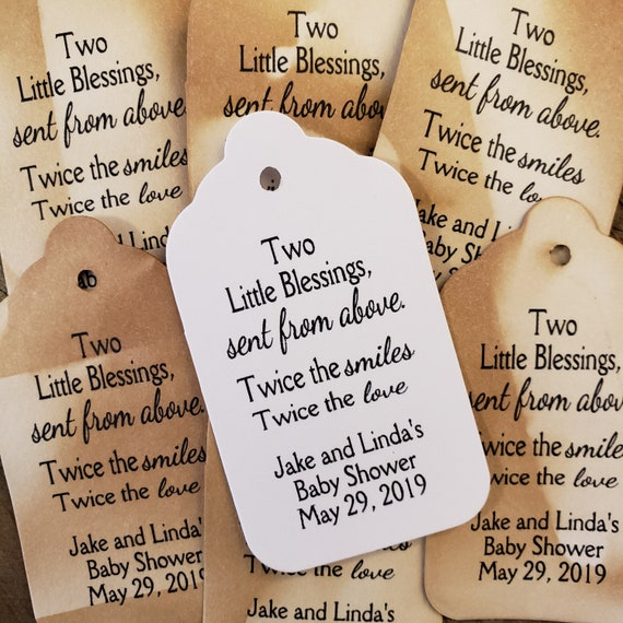 "Two Little Blessings Sent from Above favor tag Personalize (my MEDIUM tag) 1 3/8"" x 2 1/2"" Baby Shower"