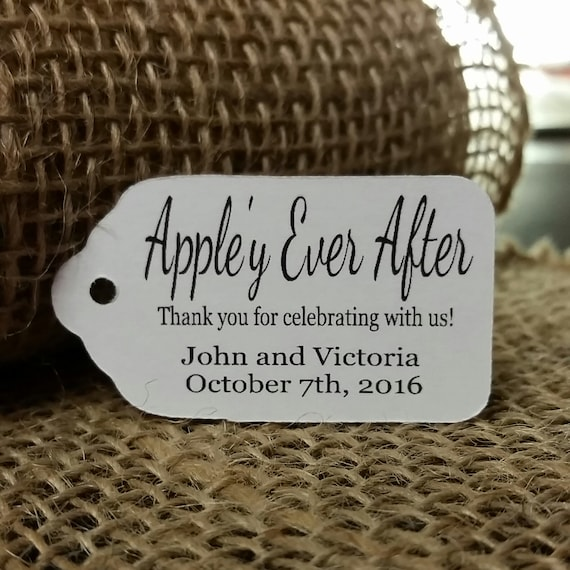"Appley Ever After (my SMALL souvenir tag) 1 1/8"" x 2"" Favor Tag Choose your quantity Happily ever after"