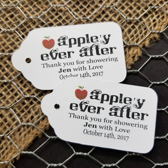 """Appley Ever After Thank you for Showering with Love (my LARGE) 1 3/4"""" x 3 1/4"""" Personalized Wedding souvenir Favor Tag fairy tale wedding,"""