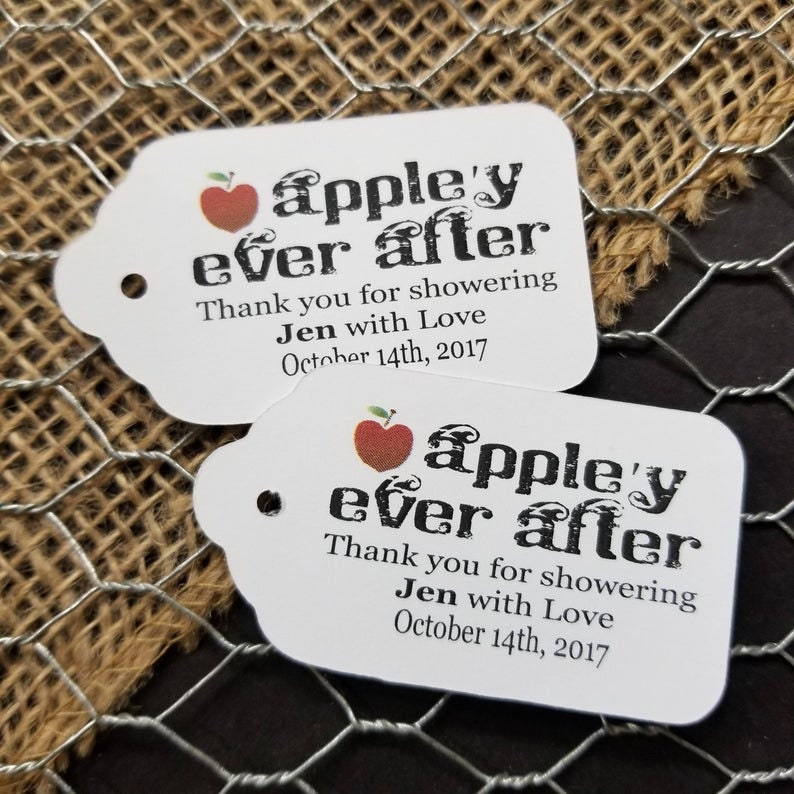 Appley Ever After Thank you for Showering with Love my LARGE 1 34 x 3 14 Personalized Wedding souvenir Favor Tag fairy tale wedding,
