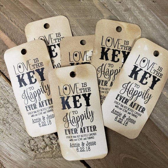 "Love is the Key to Happily Ever After RECTANGLE 1.5"" x 3"" Personalized Wedding Favor Tag  choose your amount"