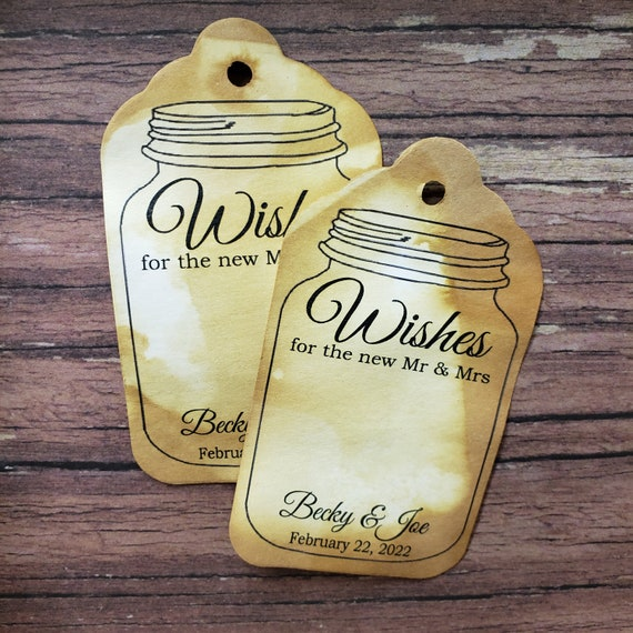 "Wishes for the new Mr & Mrs (my LARGER LARGE) 2 1/8"" x 3 3/4"" Tag personalized souvenir favor tag choose your quantity"