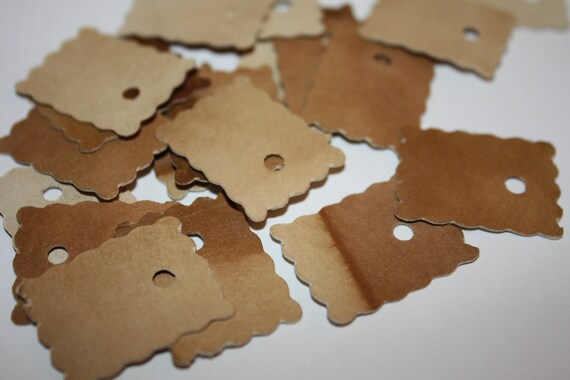 "100 SMALL 1"" Rectangle shape Tea Stained Tags"