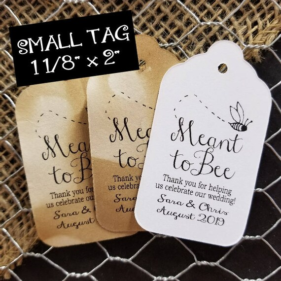 "MEANT to BEE SMALL Personalized Favor 2""  Tag"
