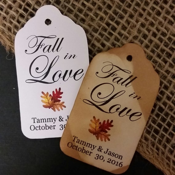 "Fall in Love (my SMALL tag) 1 1/8"" x  2"" Favor Tag Autumn Wedding Souvenir Keepsake party favor"