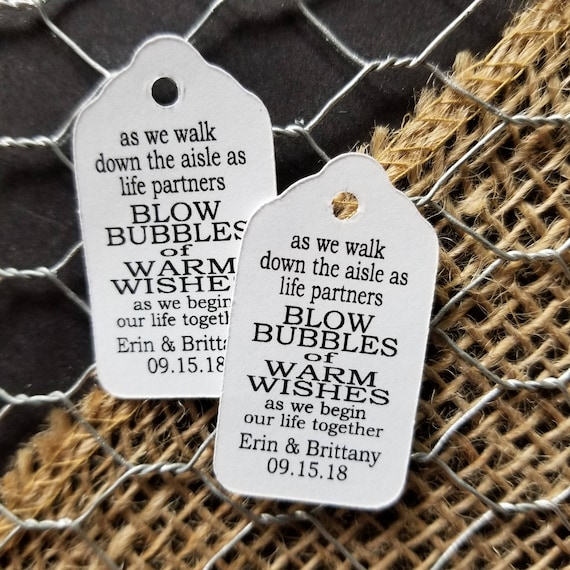 As we walk down the aisle as LIFE PARTNERS Blow Bubbles of Warm Wishes  EXtraSMall 7/8 x 1 5/8 Wedding Bubble Favor Tag