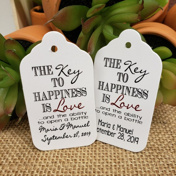 "Key to Happiness is Love and the ability open a bottle opener favor tag (my MEDIUM Tags) 1 3/8"" x 2 1/2"" Personalize with names and date"