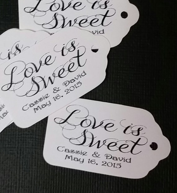 "Love is Sweet 100 SMALL 2"" Personalized Favor Tag Thank you Favor"