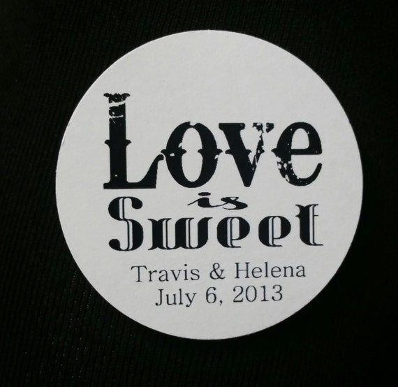 "2"" STICKER Love is Sweet Personalized Wedding Shower Favor STICKER choose your amount sold in sets of 20 STICKERS"