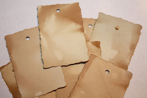 100 MEDIUM Rectangle Tea Stained Tags Vintage Primitive Grungy