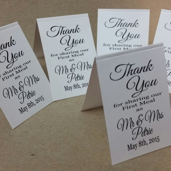 Thank you for Sharing our First Meal as Mr and Mrs Personalized Wedding Favor TENT Cards choose your amount