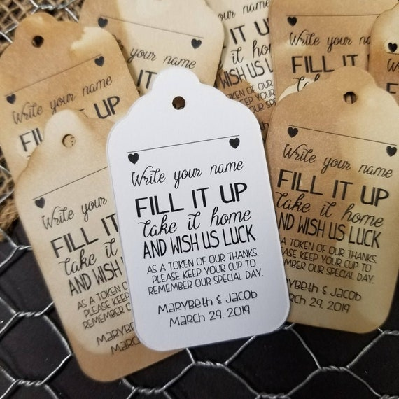 "Write your Name Fill it Up Drink Tags (my LARGE TAG) 1 3/4"" x 3 1/4"" choose your quantity"