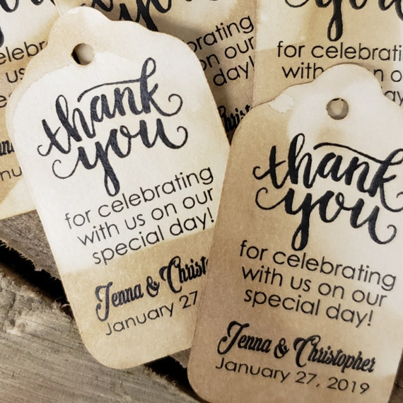 """Thank You For Celebrating with us on Our Special Day (my SMALL tag) 1 1/8"""" x 2"""" Favor Tag"""