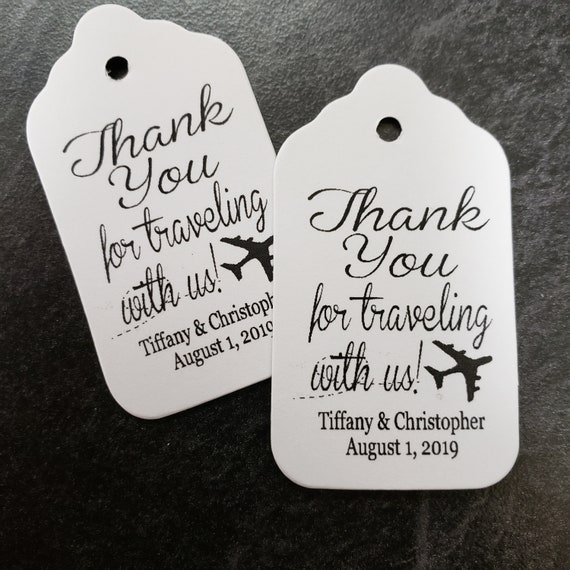 """Thank you for traveling with us (my SMALL tag) 1 1/8"""" x 2"""" Choose your quantity Favor Tag"""
