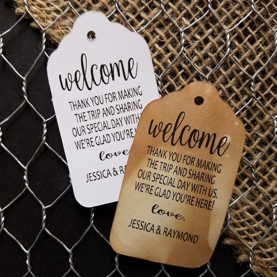 Welcome Thank you for making the trip (my LARGE tag)  3 1/4 x 1 3/4 Tags Personanlized To Our Family and Friends