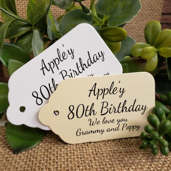 "Appley Birthday (my MEDIUM souvenir tag) 1 3/8"" x 2 1/2"" Favor Tag Choose your quantity Happy Birthday"