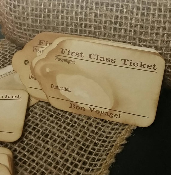 "First Class Ticket Bon Voyage (my SMALL tag) 1 1/8"" x  2"" Favor Tag NON-personalized"