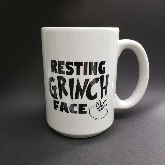 Resting Grinch Face Grinch Christmas Hot Cocoa Mug 14oz Mug coffee mug coffee cup tea cup