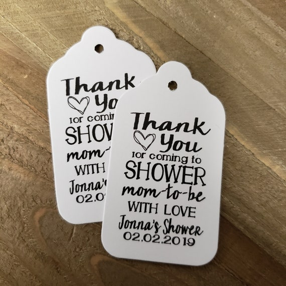 """Thank You for coming to Shower the Mom to Be with Love favor tag MEDIUM Tags Personalize (my MEDIUM tag) 1 3/8"""" x 2 1/2"""""""