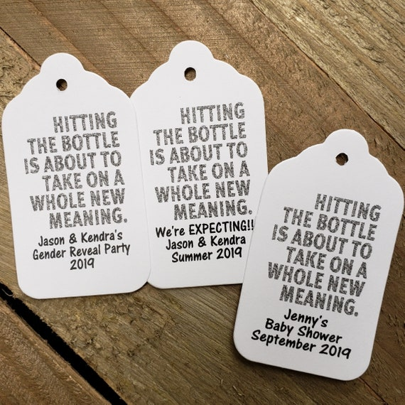 "Hitting the Bottle is About to Take on a Whole New Meaning Favor tag (my MEDIUM tag) 1 3/8"" x 2 1/2"" Gender Reveal Baby Announcement"
