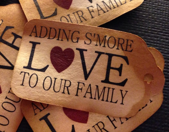 "Adding S'More Love to our Family 50 SMALL 2"" Favor Tag"