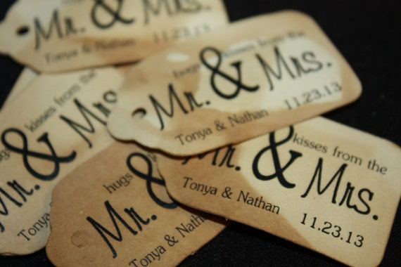 Hugs and Kisses from the Mr and Mrs SMALL 2 inch Personalized Favor Tag
