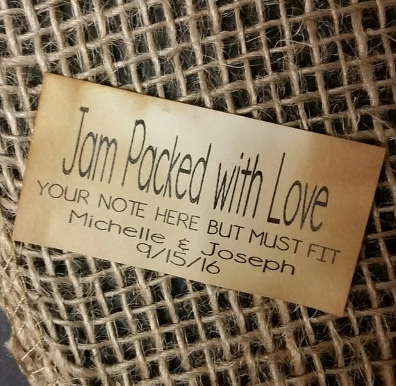 "Jam Packed with Love Personalized Wedding Shower Favor 1.25"" x 2.25"" STICKER choose your amount"