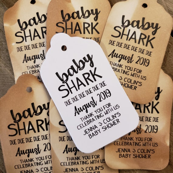 "Baby Shark Due Due Due Baby Announcement favor tag Personalize (my MEDIUM tag) 1 3/8"" x 2 1/2"" Baby Shower"