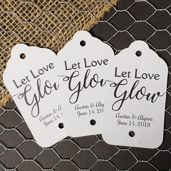 "Let Love Glow (my LARGE tag) 1 3/4"" x 3 1/4"" Personalized Sparkler Farewell Tags Choose your quantity Sparkler tags sparkling drink tag"