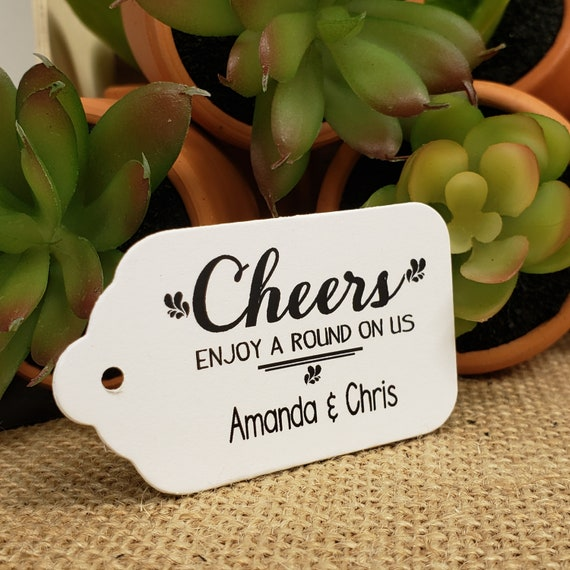 """Cheers (my MEDIUM tag) 1 3/8"""" x 2 1/2"""" Personalized Wedding Drink Token Favor Tag  choose your amount"""