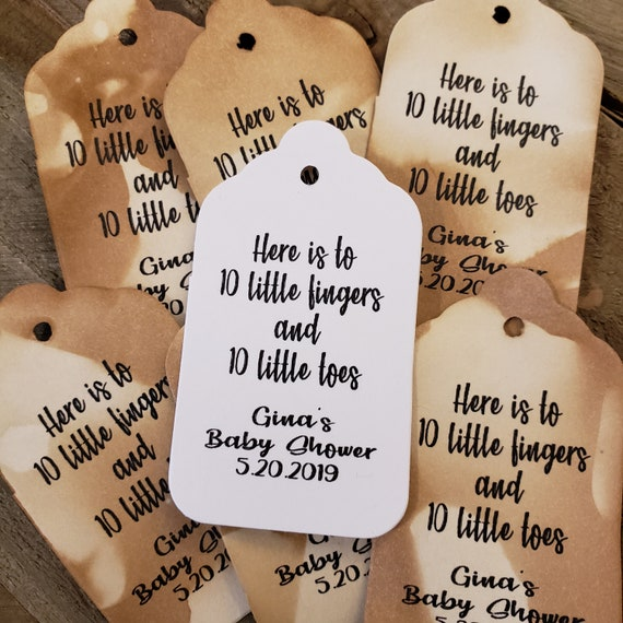 "Here is to 10 Little Fingers and 10 Little Toes favor tag MEDIUM Tags Personalize (my MEDIUM tag) 1 3/8"" x 2 1/2"" Baby Shower"