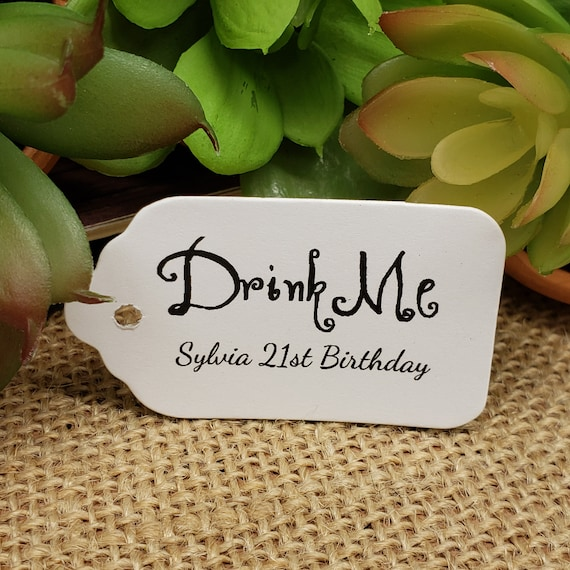 """Drink Me (my SMALL tag) 1 1/8"""" x 2"""" Choose your quantity Favor Tag"""