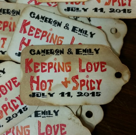 "Keeping Love Hot & Spicy SMALL 2"" Personalized Favor Tags Thank you Favor Click the Drop Down for QUANTITY CHOICES"