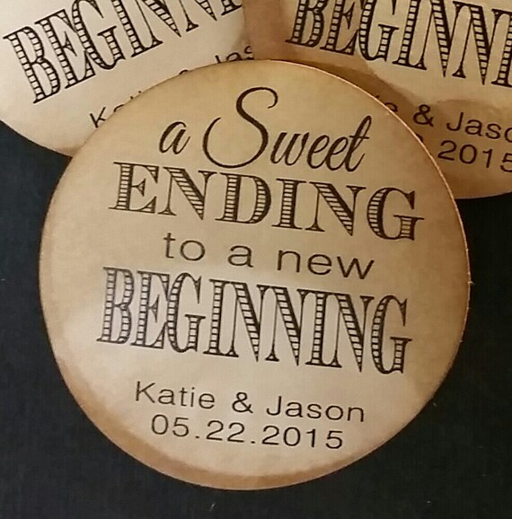 """1.5"""" STICKER Sweet Ending to a new Beginning Personalized Wedding Shower Favor STICKER choose your amount sold in sets of 20 STICKERS"""