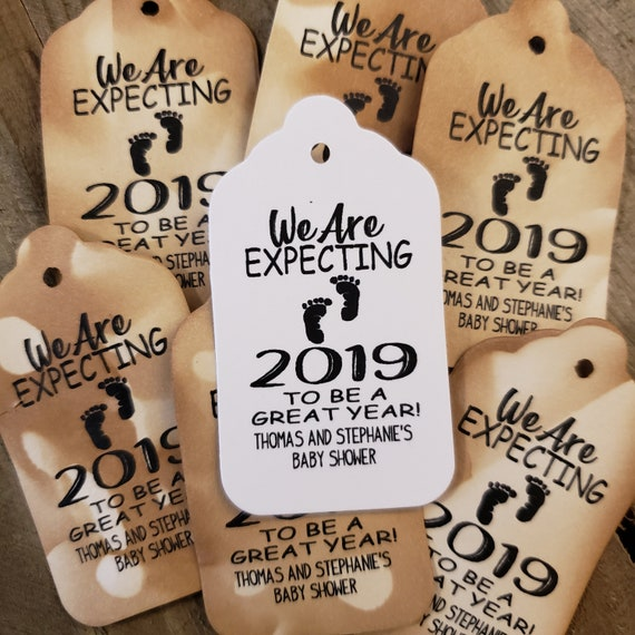 """We Are Expecting favor tag MEDIUM Tags Personalize (my MEDIUM tag) 1 3/8"""" x 2 1/2"""" Boy Baby Shower"""