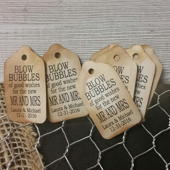 Blow Bubbles of Good Wishes for the new Mr and Mrs 50 EXTRA SMALL 7/8 x 1 5/8 Wedding Bubble Favor Tag