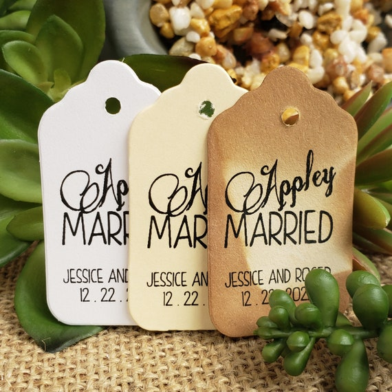 """Appley Married (my SMALL souvenir keepsake tag) 1 1/8"""" x 2"""" Favor Tag Choose your quantity Happily ever after"""