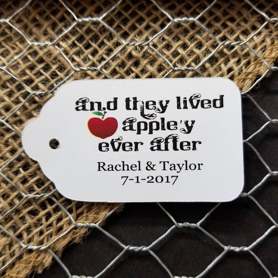 And They Lived Appley Ever After (my MEDIUM tag) Souvenir Favor Tag Choose your quantity Happily ever after